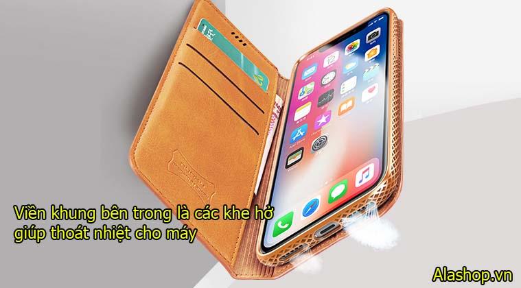 Bao da iphone XS Max dạng ví đa năng hand made