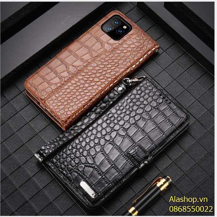 Bao da iPhone 11/ 11 Pro Max dạng ví da bò vân cá sấu