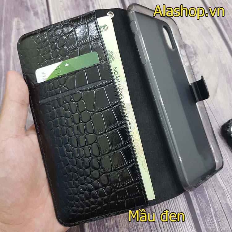 Bao da iPhone XS Max dạng ví da bò vân cá sấu