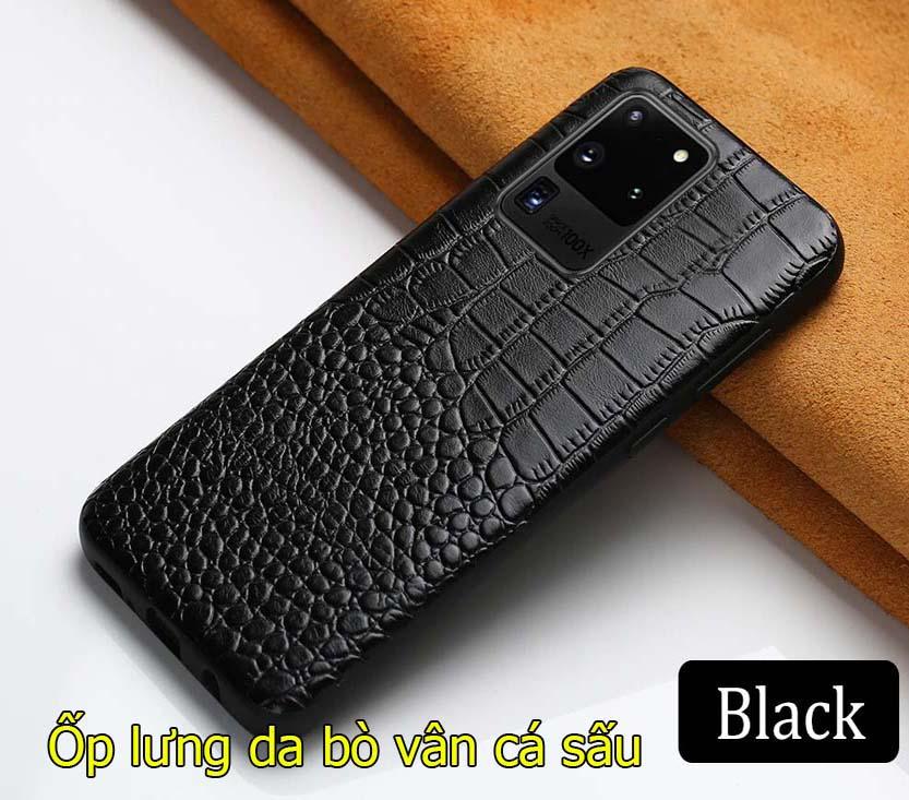 Ốp lưng da bò Samsung Note 20 Ultra dập vân cá sấu