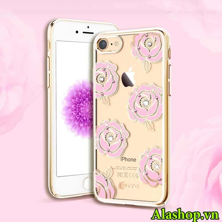ốp lưng iphone 7 hoa cúc hồng mẫu đơn đính đá