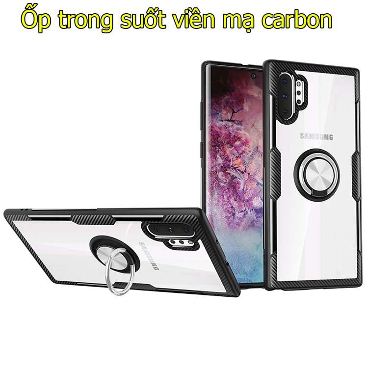 Ốp lưng Samsung Note 10+ trong suốt kết viền mạ carbon