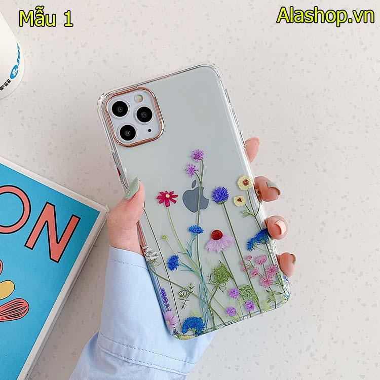 Ốp lưng TPU iPhone 12 pro max trong suốt họa tiết hoa chống sốc