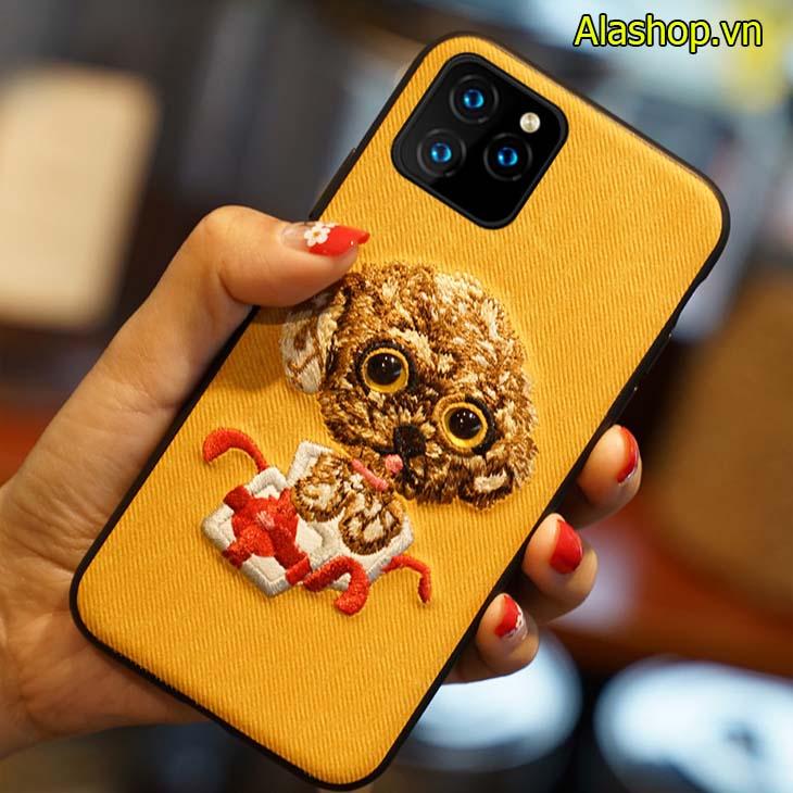 Thêu tay hình chó vàng đáng yêu ốp iPhone 11 pro max