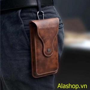 Bao da đeo thắt lưng iPhone samsung 2 ngăn