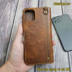 Bao da iPhone 11/11 Pro Max da bò dạng ví cao cấp