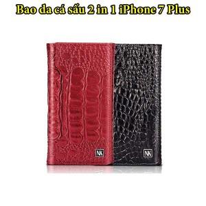 bao da iPhone x Plus da cá sấu chúa 2 trong 1