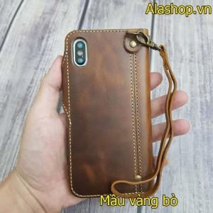 Bao da iPhone XS Max / XS da bò dạng ví cao cấp