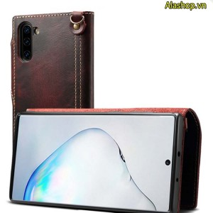 Bao da Samsung Note 10 da bò dạng ví cao cấp