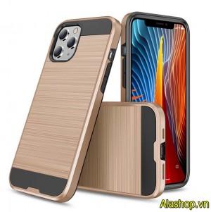 Ốp lưng 2 lớp iPhone 12 pro max giả kim loại chống sốc