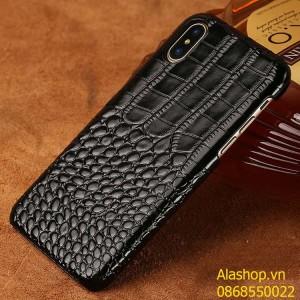 Ốp lưng da bò iPhone XS Max vân cá sấu