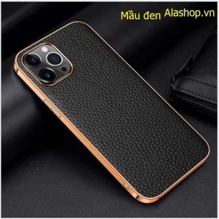 Ốp lưng da iPhone 12 pro max da bò cao cấp mạ si