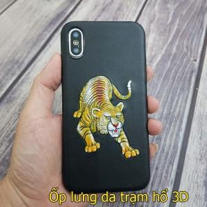 Ốp lưng da iphone xs max/ xs da thật hình hổ 3D