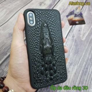 Ốp lưng da iPhone xs/ xs Max đầu rồng nổi 3D