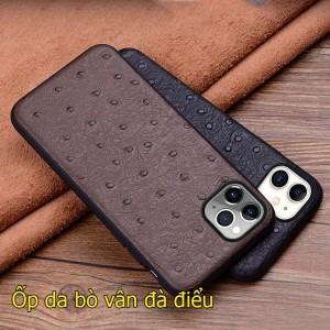 ốp lưng iPhone 11 pro max da bò vân đà điểu