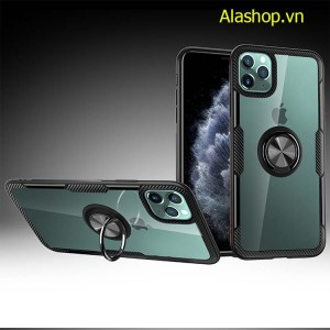 Ốp lưng iPhone 12 pro max trong suốt viền carbon + iring
