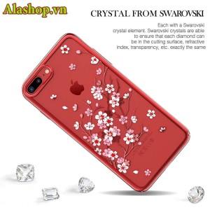 Ốp lưng iphone 7 plus 8 plus hoa anh đào đính đá cao cấp kavaro