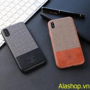 Ốp lưng iphone XS Max bọc da phối vải sang trọng