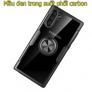 Ốp lưng Samsung Note 10 trong suốt phối carbon đa năng