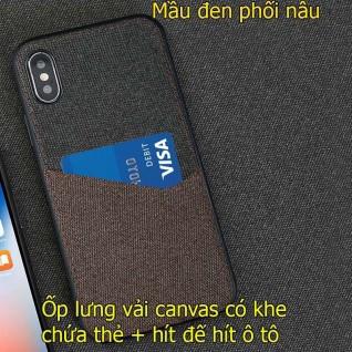 Ốp lưng vải canvas iphone x/ xs max để thẻ + hít đế hít