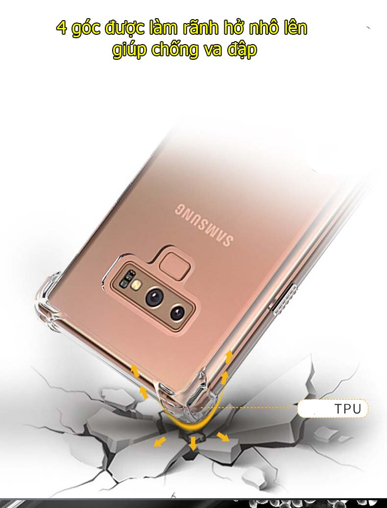 Ốp lưng samsung Note 9 trong suốt chống sốc